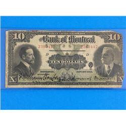 1914 BANK OF MONTREAL $10 BANK NOTE