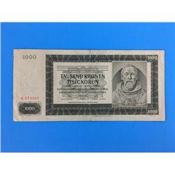 1942 BOHMEN & MORAVIA BANK NOTE (1000 KRONEN)
