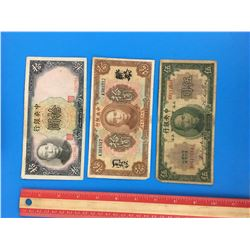 LOT OF 3 CENTRAL BANK OF CHINA BANK NOTE (1923 1930 1936)