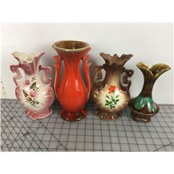 LOT OF VASES (VINTAGE) *RED ONE HAS CHIP*