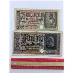 LOT OF 2 NAZI GERMAN BANK NOTES