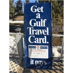 "METAL GULF SERVICE STATION SIGN PANEL *77"" X 32""*"
