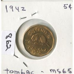 1942 CNDN 5 CENT PC  (TOMBAC)