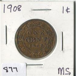 1908 CNDN 1 CENT PC