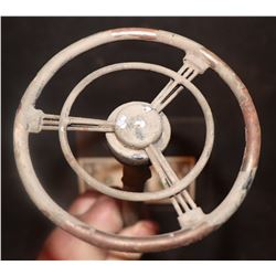 MINIATURE ANTIQUE CAR STEERING WHEEL WITH COLUMN 1