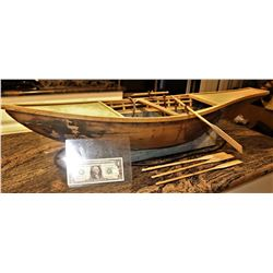 MINIATURE ANTIQUE CLEOPATRA EGYPTIAN FUNERAL BARGE BOAT W/ MOTORIEXED ROWING MECHANISM INTACT