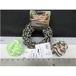 3 Dog Toy's / 2 Braided Rope Balls & 1 Braided Hoop