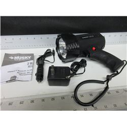 Husky LED Spotlight comes with wall charger and 12 volt charger