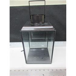 New Metal and Glass Hurricane Lantern 6.5 x 6.5 x 10