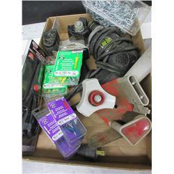 Flat of Assorted Items / Tape dispensors / Scissors / Screw Gun / Chain etc.