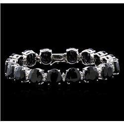 77.74 ctw Blue Sapphire and Diamond Bracelet - 14KT White Gold
