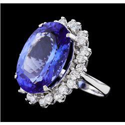 16.10 ctw Tanzanite and Diamond Ring - 14KT White Gold
