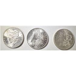 1882-S, 83-O & 85 MORGAN DOLLARS CH BU