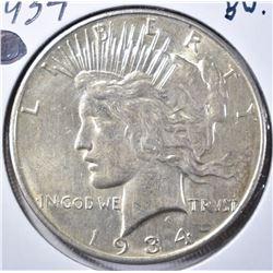 1934-D PEACE DOLLAR, NICE BU
