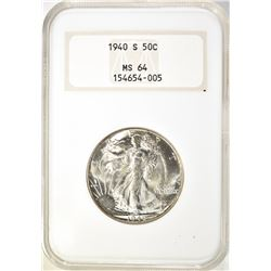 1940-S WALKING LIBERTY HALF DOLLAR,