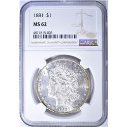 1881 MORGAN DOLLAR, NGC MS-62