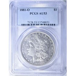 1881-O MORGAN DOLLAR, PCGS AU-53