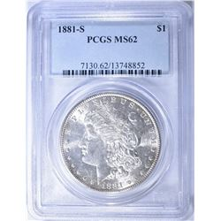 1881-S MORGAN DOLLAR, PCGS MS-62