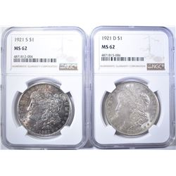 1921-D & 1921-S MORGAN DOLLARS, NGC MS-62