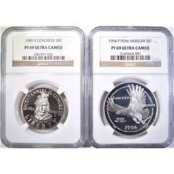 1994 POW $1 & 1898-S CONGRESS 50C COMMEMORATIVES