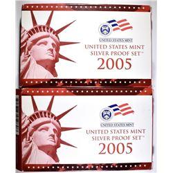 (2) 2005 U.S. MINT SILVER PROOF SET IN OGP