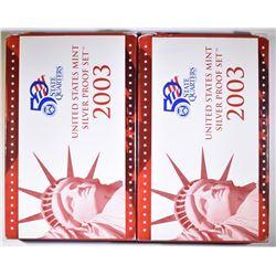 (2) 2003 U.S. MINT SILVER PROOF SET IN OGP
