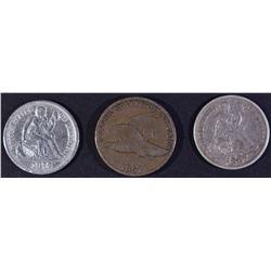(3) MIXED LOT: 1857 FLING EAGLE VF,