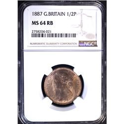 1887 G. BRITAIN ½ PENCE, NGC MS-64 RB