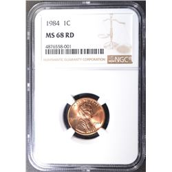 1984 LINCOLN CENT, NGC MS-68 RED