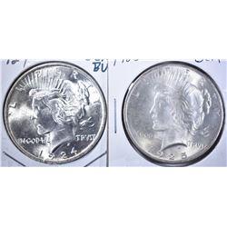 1924 & 25 GEM BU PEACE DOLLARS
