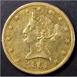1851-O $10 GOLD LIBERTY BU OLD LIGHT CLEANING