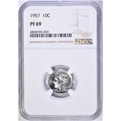 1957 ROOSEVELT DIME NGC PF 69