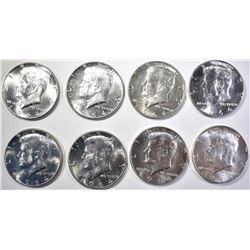(8) GEM BU 1964-D KENNEDY HALF DOLLARS