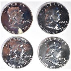 (4) PROOF FRANKLINS: 1-1962 & 3-1963