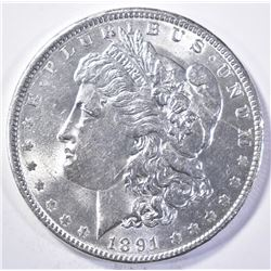 1891 MORGAN DOLLAR, GEM BU