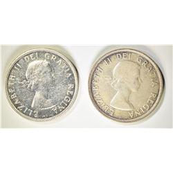 1953 & 54 CANADA SILVER DOLLARS, CH BU+