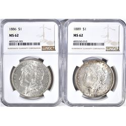 1886 NGC MS-62 & 89 NGC MS-62 MORGAN DOLLARS