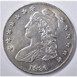 1836 LETTERED EDGE BUST HALF DOLLAR AU/BU