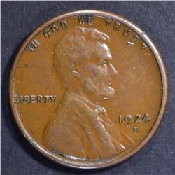 1924-S LINCOLN CENT, XF/AU