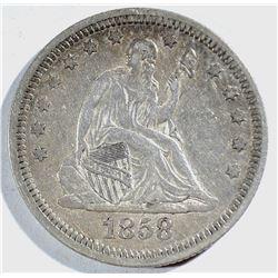 1858 SEATED QUARTER, XF+