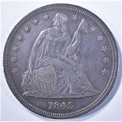 1845 SEATED DOLLAR, AU, SCARCE!