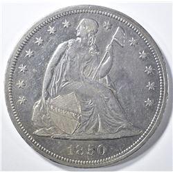 1850 SEATED DOLLAR, AU/BU RARE, MINTAGE 7500