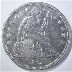 1862 SEATED DOLLAR, AU+ CIVIL WAR ISSUE