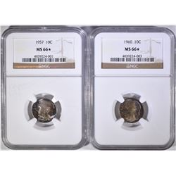 1957 & 60 ROOSEVELT DIME NGC MS-66