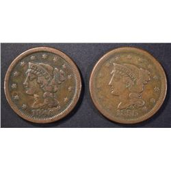 1846 & 55 LARGE CENTS, VF/XF