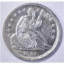 1838 LIBERTY SEATED HALF DIME AU/BU