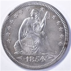 1854 SEATED LIBERTY QUARTER  ARROWS CH BU CLEANED