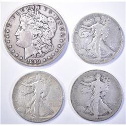 4 COIN LOT:  1898-S MORGAN DOLLAR  VF,