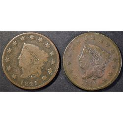 (2) LARGE CENTS: 1817 F & 1821 G