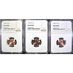 1991-D & 2-92-D LINCOLN CENTS, NGC MS-68 RED